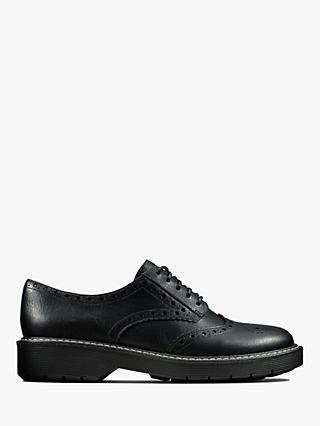 Clarks Witcombe Leather Brogues, Black
