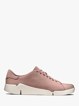 Clarks Tri Abby Nubuck Leather Trainers, Mauve