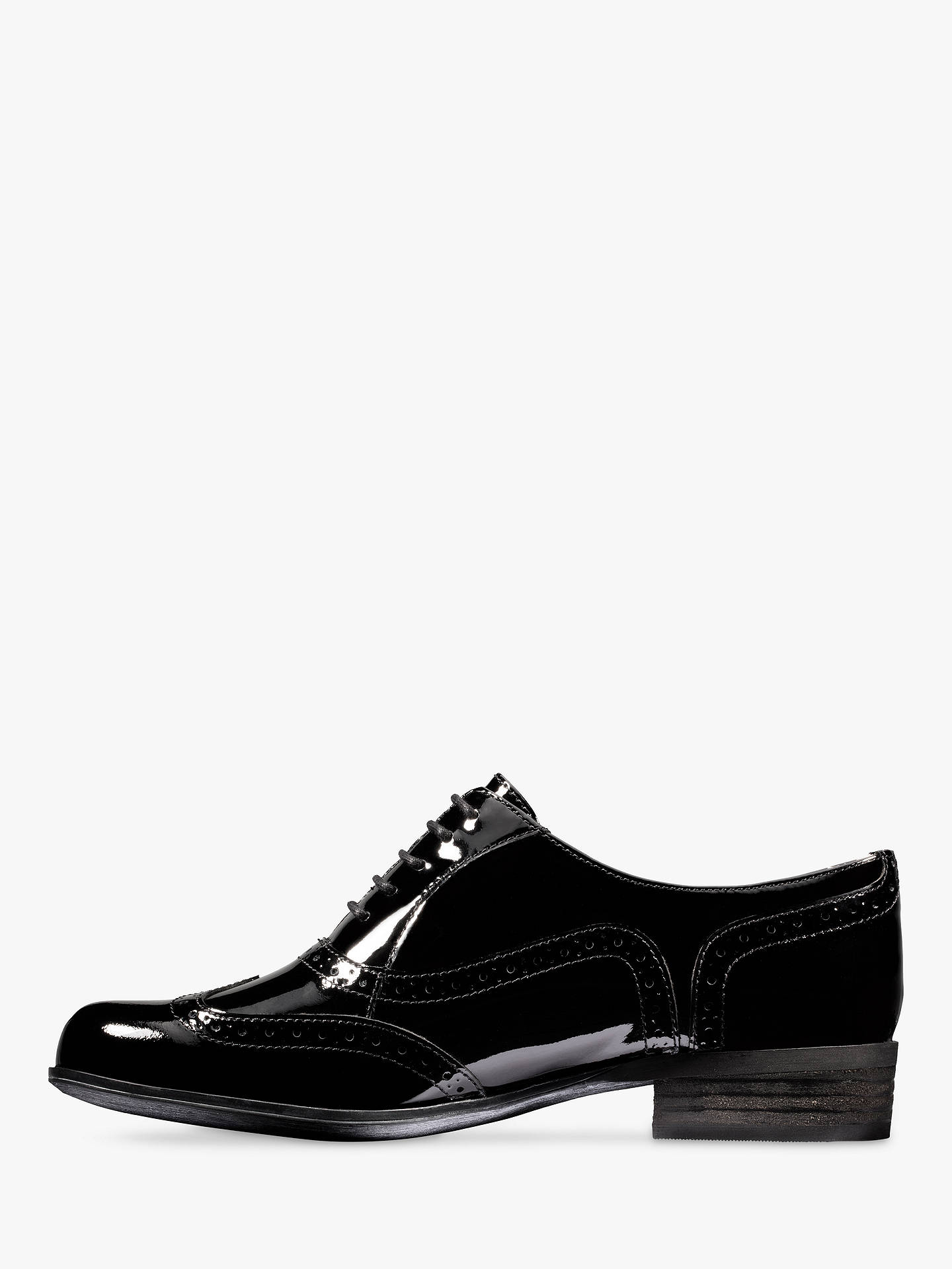 Buy Clarks Hamble Leather Lace Up Brogues, Black Patent, 3 Online at johnlewis.com