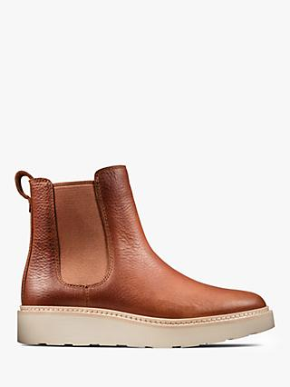 Clarks Trace Cora Leather Slip On Chelsea Boots