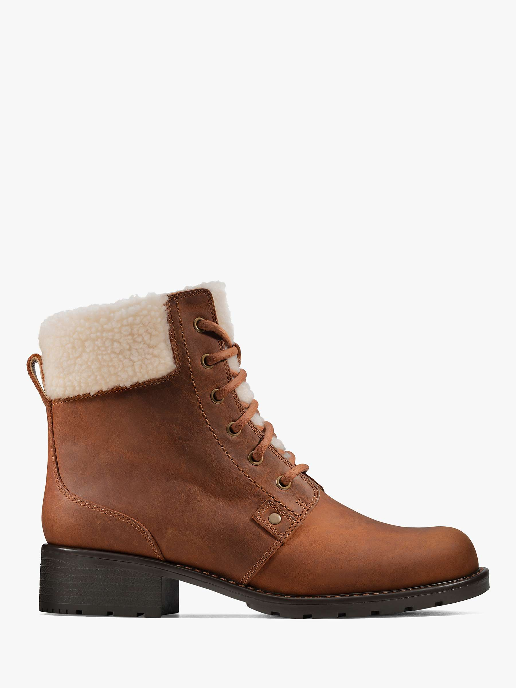 Clarks Orinoco Dusk Leather Lace Up Faux Fur Ankle Boots, Tan by Clarks