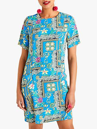 Yumi Relaxed Floral Scarf Dress, Blue