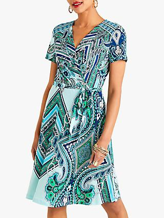 Yumi Ocean Paisley Print V-Neck Wrap Dress, Blue