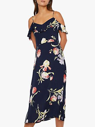 Warehouse Iris Floral Midi Dress, Navy/Multi
