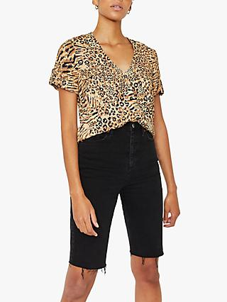 Warehouse Animal Print Pocket Front Top, Neutral