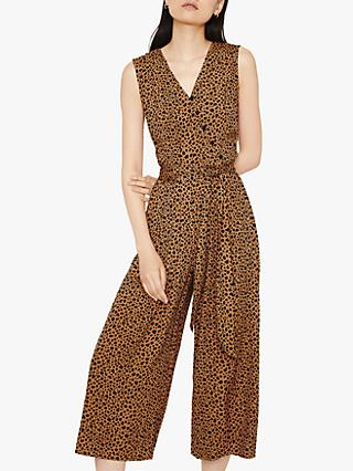 Warehouse Animal Print Culotte Jumpsuit, Tan