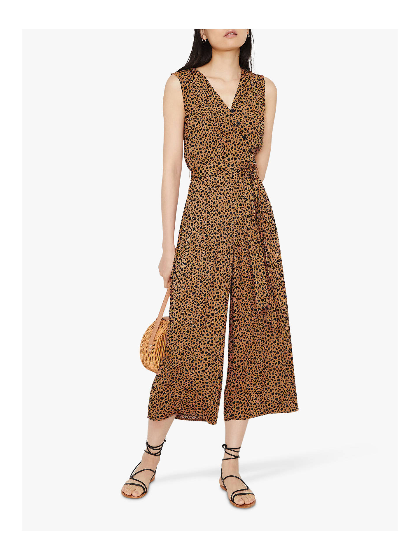 Buy Warehouse Animal Print Culotte Jumpsuit, Tan, 18 Online at johnlewis.com