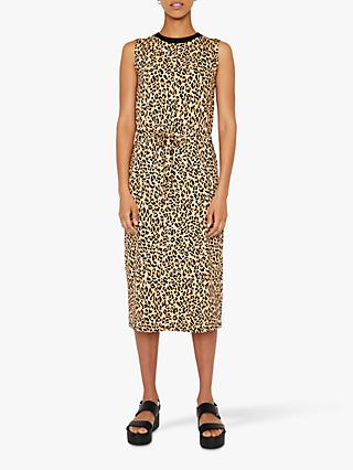Warehouse Leopard Print Drawstring Dress, Neutral