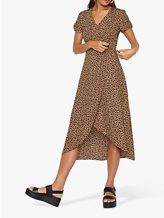 b6ad1e4700 Warehouse Animal Print Midi Dress, Tan