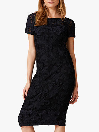 Buy Phase Eight Anette Tapework Dress, Black/Navy, 6 Online at johnlewis.com