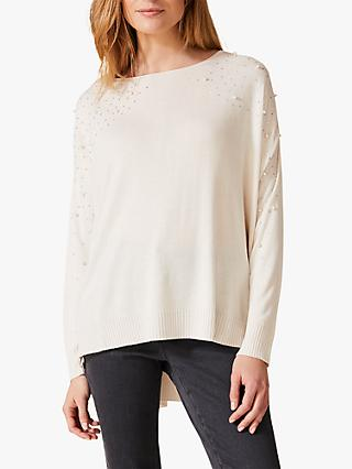 Phase Eight Pandora Pearl Knit Jumper, Ivory