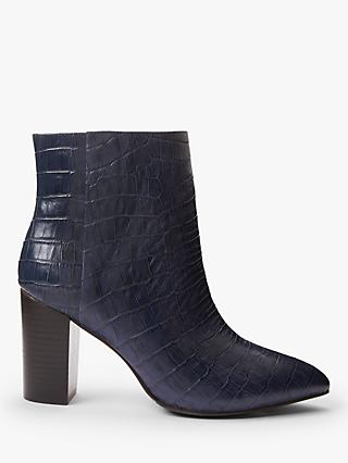 Boden Langley High Block Heel Leather Ankle Boots, Navy