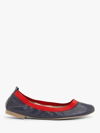 Boden Hettie Leather Ballerina Pumps, Blue