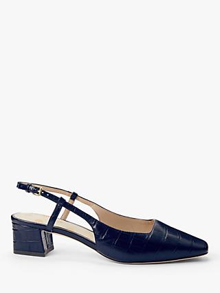 Boden Kiera Leather Croc Heeled Slingback Court Shoes, Navy