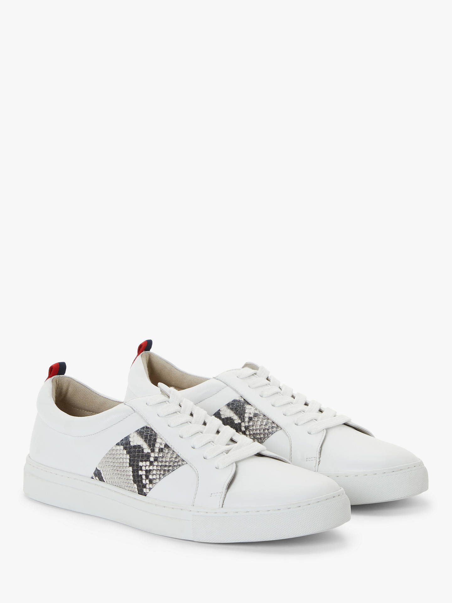 Buy Boden Classic Leather Trainers, White/Snakeprint, 8 Online at johnlewis.com