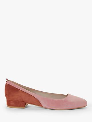 Boden Cathy Suede Low Colour Block Flats, Dusky Rose/Conker