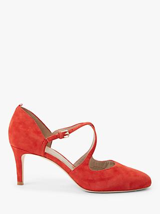 Boden Vanessa Low Stiletto Heel Cross Strap Suede Court Shoes