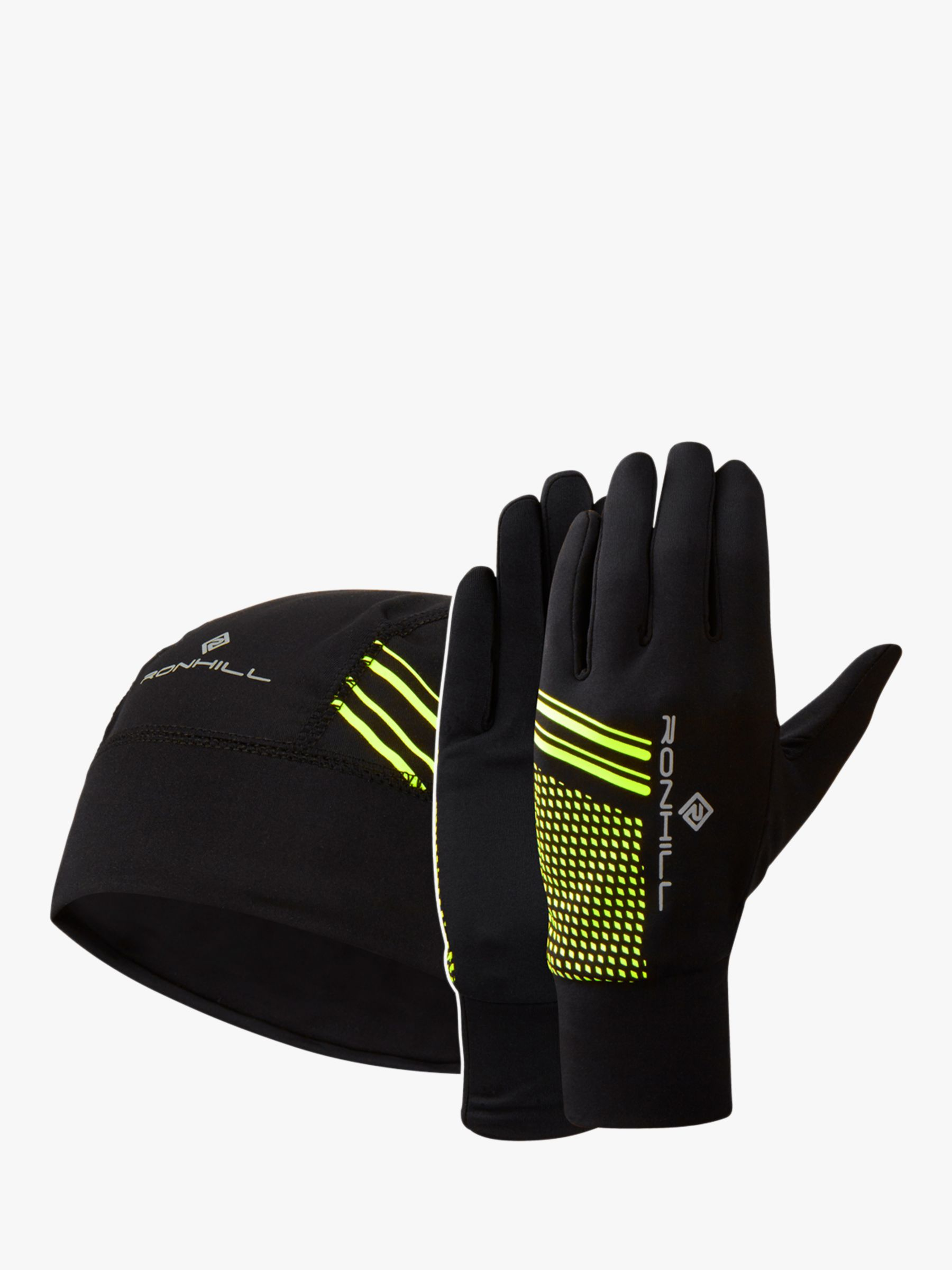 Ronhill Ronhill Beanie & Glove Set, Black/Fluo Yellow