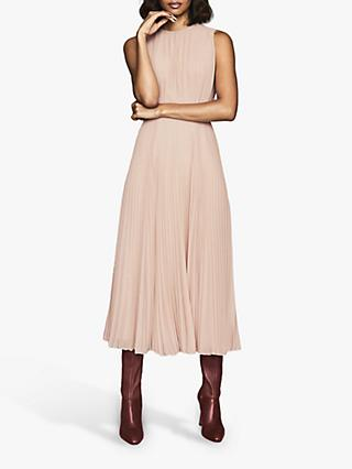 Reiss Pandora Pleated Midi Dress, Nude