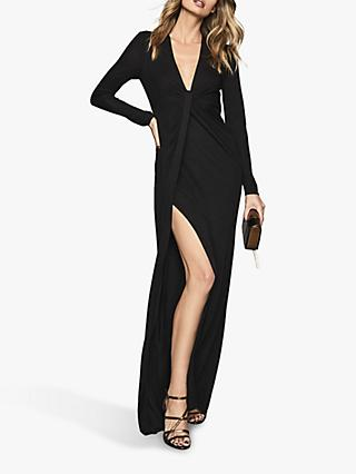 Reiss Harlyn Plunge Jersey Maxi Dress, Black