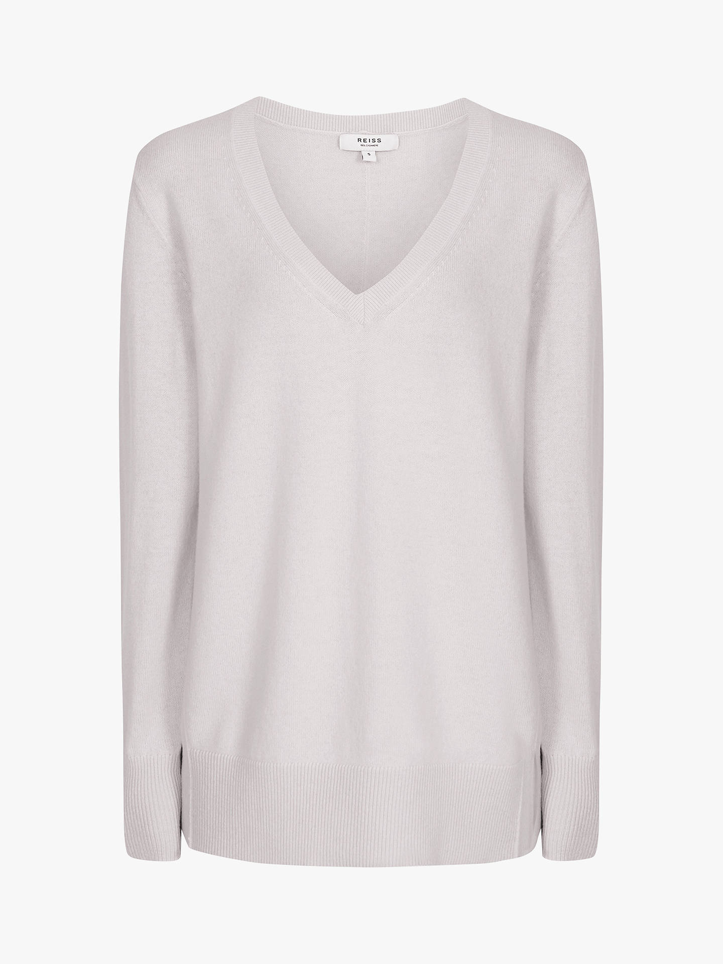 Buy Reiss Luna Cashmere V-Neck Jumper, Grey, L Online at johnlewis.com
