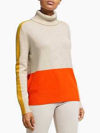 Winser London Colour Block Roll Neck Jumper