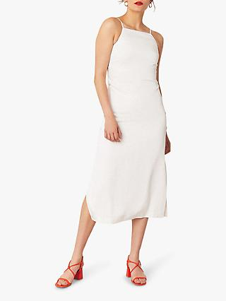Oasis Side Button Square Neck Midi Dress, Off White