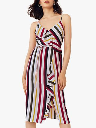 Oasis Bali Stripe Frill Midi Dress, Multi