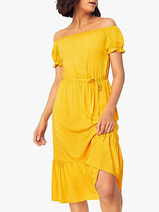 Oasis Bardot Dress, Bright Yellow