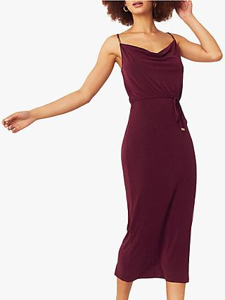 Oasis Cowl Neck Midi Dress, Burgundy