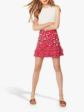 Oasis Ditsy Print Ruffle Skirt, Red Multi
