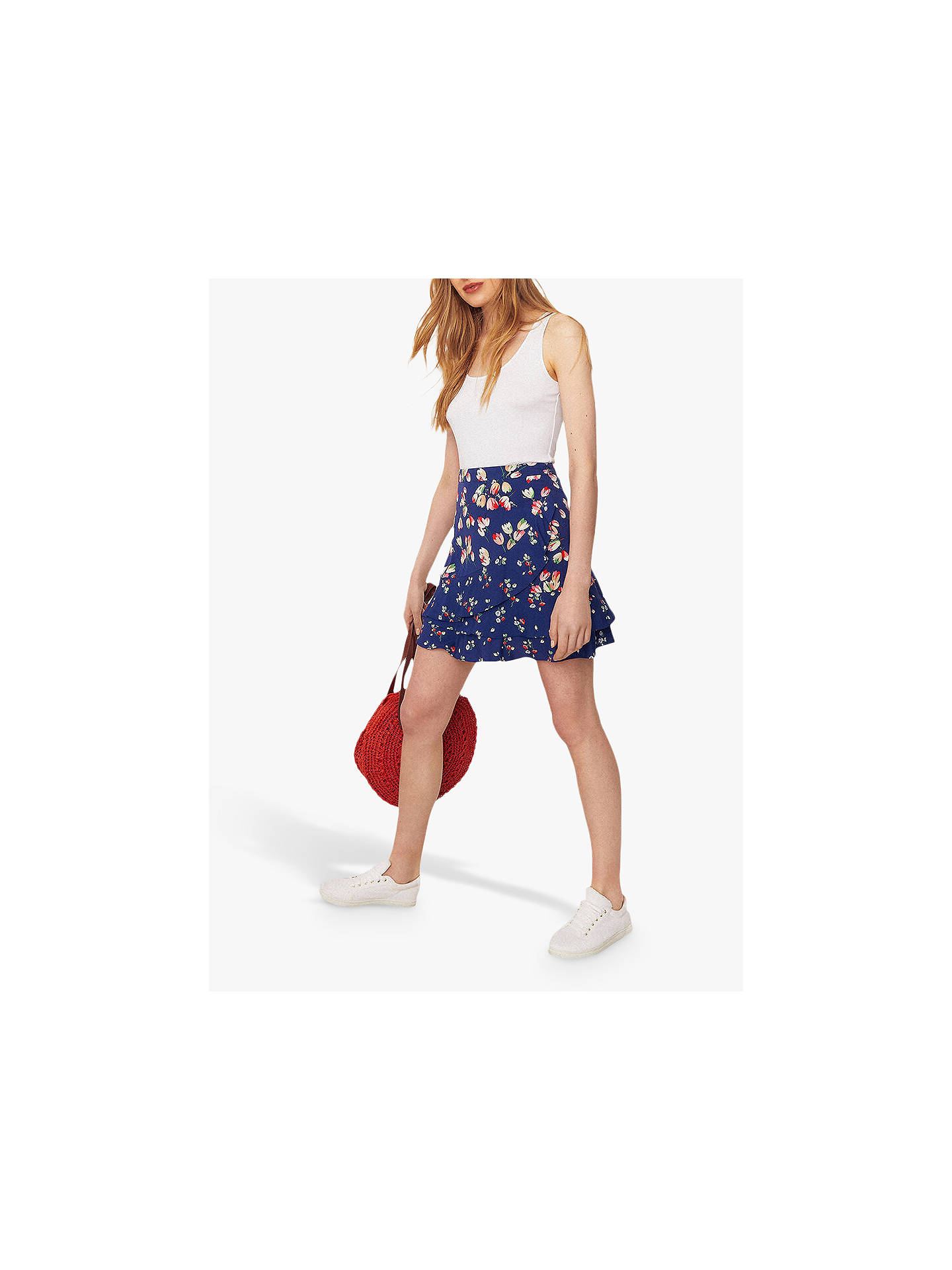 0c3e9fc9567 ... Buy Oasis Ditsy Print Ruffle Skirt, Multi Blue, 6 Online at  johnlewis.com ...