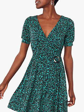 Oasis Animal Wrap Dress, Green