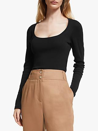 John Lewis & Partners Scoop Neck Rib Top