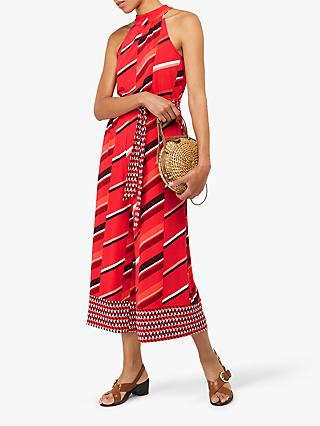 Monsoon Gina Jersey Print Jumpsuit, Red/Multi