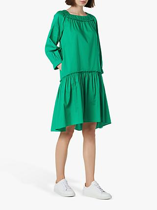 L.K.Bennett Frida Cotton Oversized Dress, Fern Green