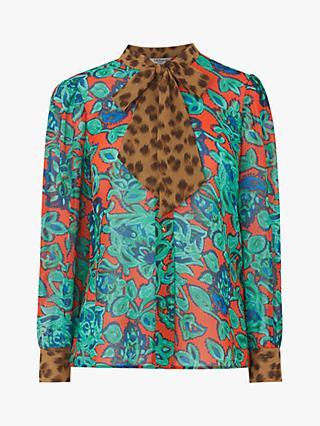 2ec302cda00409 L.K.Bennett Wylie Silk Paisley Leopard Tie Neck Blouse, Multi