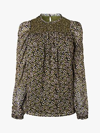 L.K.Bennett Getty Floral Blouse, Olive