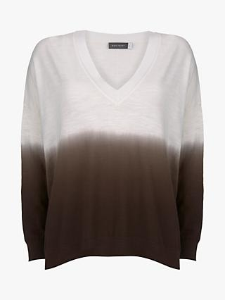 Mint Velvet Ombre V-Neck Knit Jumper, Ivory/Brown