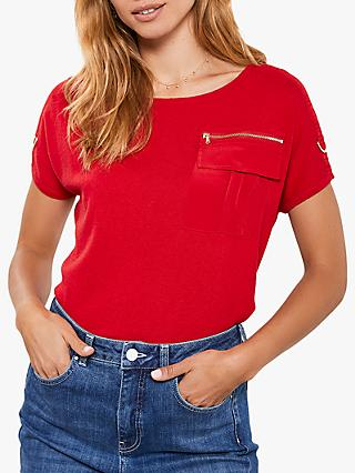 Mint Velvet Military Pocket Knit Top, Red