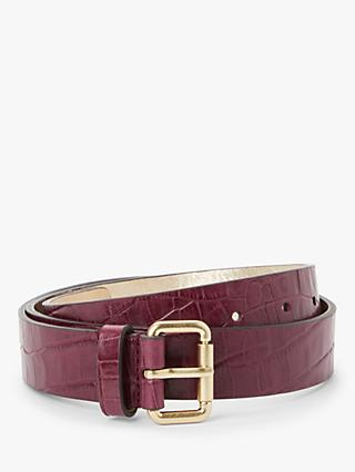 Boden Classic Croc Leather Belt, Ruby