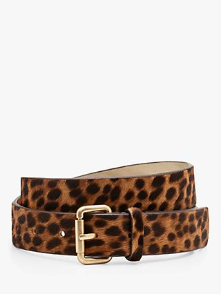 Boden Classic Leather Buckle Belt, Tan Leopard