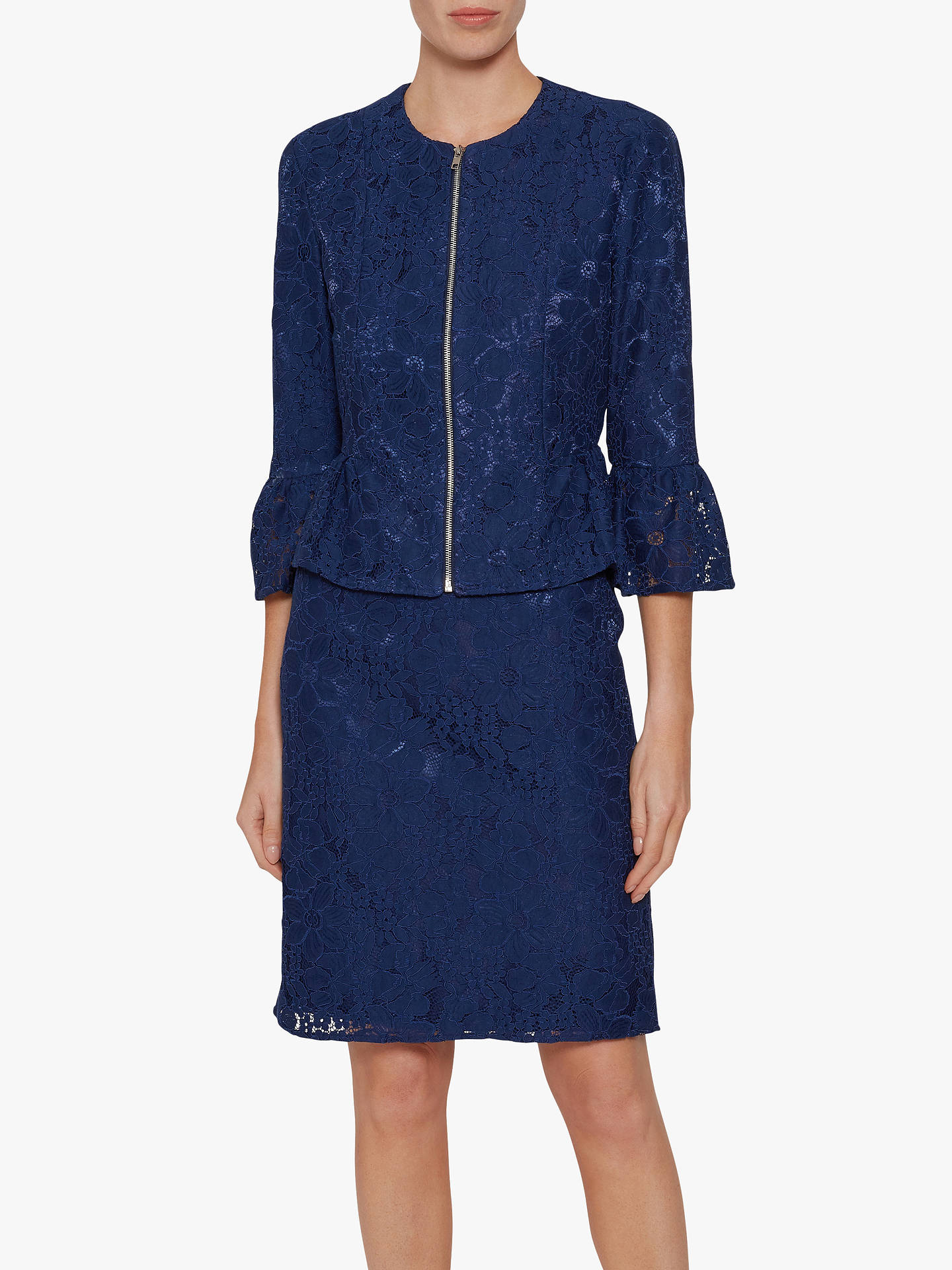 Buy Gina Bacconi Mariana Lace Dress, Navy, 18 Online at johnlewis.com