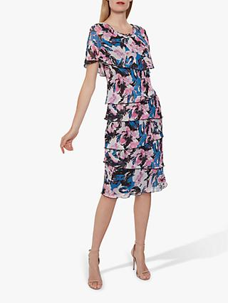 Gina Bacconi Fiorela Dress, Blue/Pink