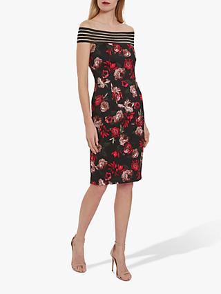 Gina Bacconi Florice Off Shoulder Dress, Black/Red
