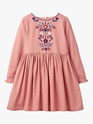c1833cb3b Mini Boden Girls' Floral Embroidered Bohemian Dress, Pink Ticking Stripe