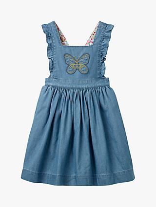 Mini Boden Girls' Embroidered Pinafore Dress, Mid Denim/Butterfly