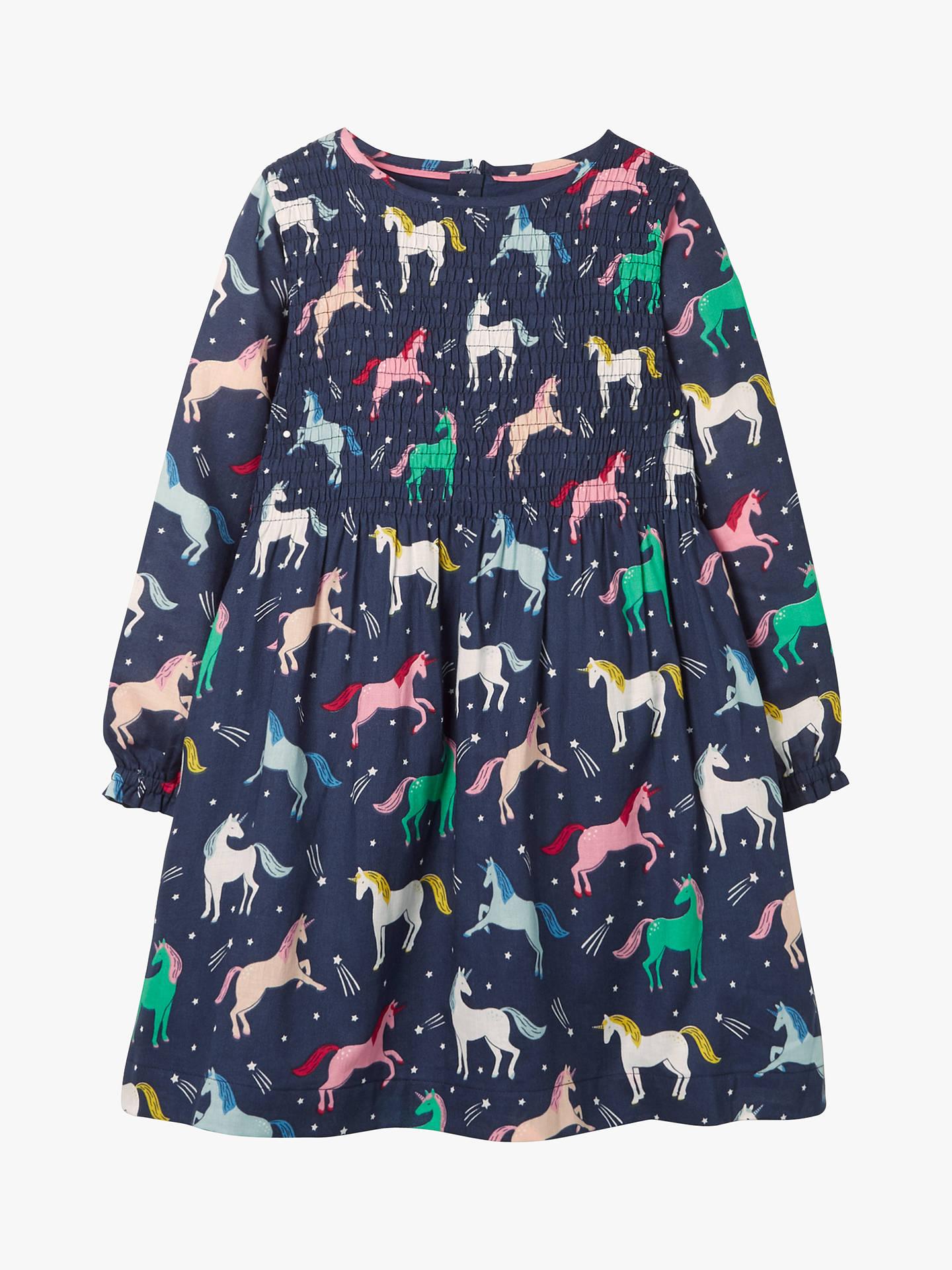Mini Boden Girls' Unicorn Printed Smock Dress, Navy at John