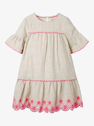 89cb42fe9d Mini Boden Girls' Drop Waist Floral Embroidered Dress, Grey Marl/Pink