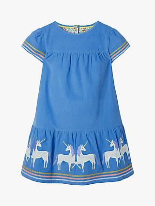 444a19210 Mini Boden Girls' Unicorn Tiered Stripe Detail Dress, Elizabethan Blue